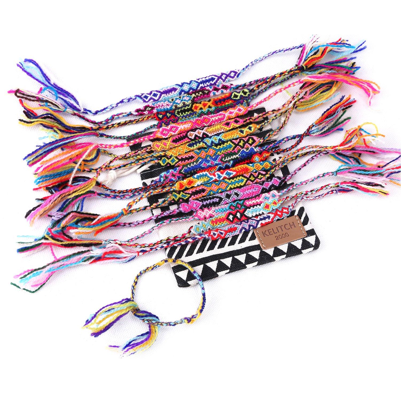 KELITCH 10 Stück Zufällige Farbe Baumwolle Strick Handgefertigt Woven Freundschaftsarmbänder ArmbänderSet