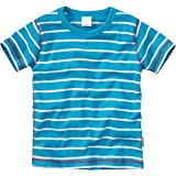 WELLYOU Camiseta de Manga Corta Azul Turquesa con Rayas Blancas, para niñas y niños 100% de algodón. Tallas 56-146