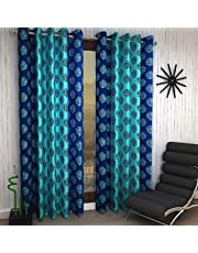 Home Sizzler Eyelet Polyester Door Curtain Set, Blue