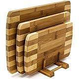 Relaxdays Snijplanken set 3 maten met houder keukenplanken van bamboe gestreepte planken voor ontbijt in modern design in pra