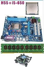 KharidiyeBasic Intel Core I5 650 3.2 GHz Processor + Zebronics Intel H55 Chipset Motherboard + (2+2) 4 GB DDR3 RAM + FAN For Intel Processor