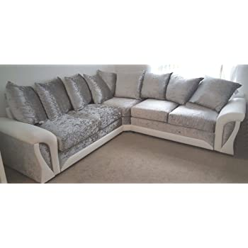 Shannon Corner 3 2 Seater Leather And Crushed Velvet Fabric White
