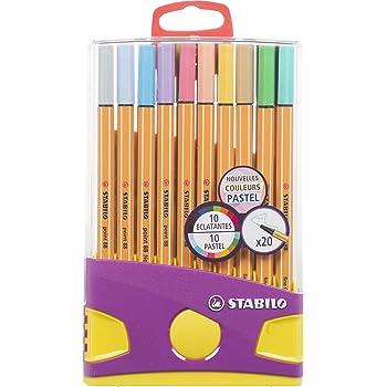 Stylo feutre pointe fine - STABILO Point 88 - Etui ColorParade de 20 stylos-feutres - Coloris assortis dont 10 pastel
