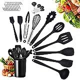 Ustensiles de Cuisine,25pcs Set spatule en Silicone de qualité Alimentaire,résistant à la Chaleur Outils de Cuisson antiadhés