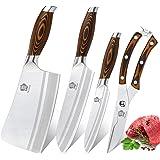 WILDMOK Ensemble de 4 Couteaux de Cuisine avec Ensemble de Couteaux à Hacher pour Une Coupe et un Tranchage Rapides et Facile
