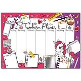 EINHORN PLANER Schreibtischunterlage mit Wochenplaner zum Abreißen aus Papier von BREITENWERK® - 25 Blatt DIN A3 Schreibunterlage mit Tages-Plan, To-Do Liste und Shopping-Liste in Pink / Violett