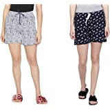 Club A9 Women Printed White, Navy Blue Shorts - Pack of 2
