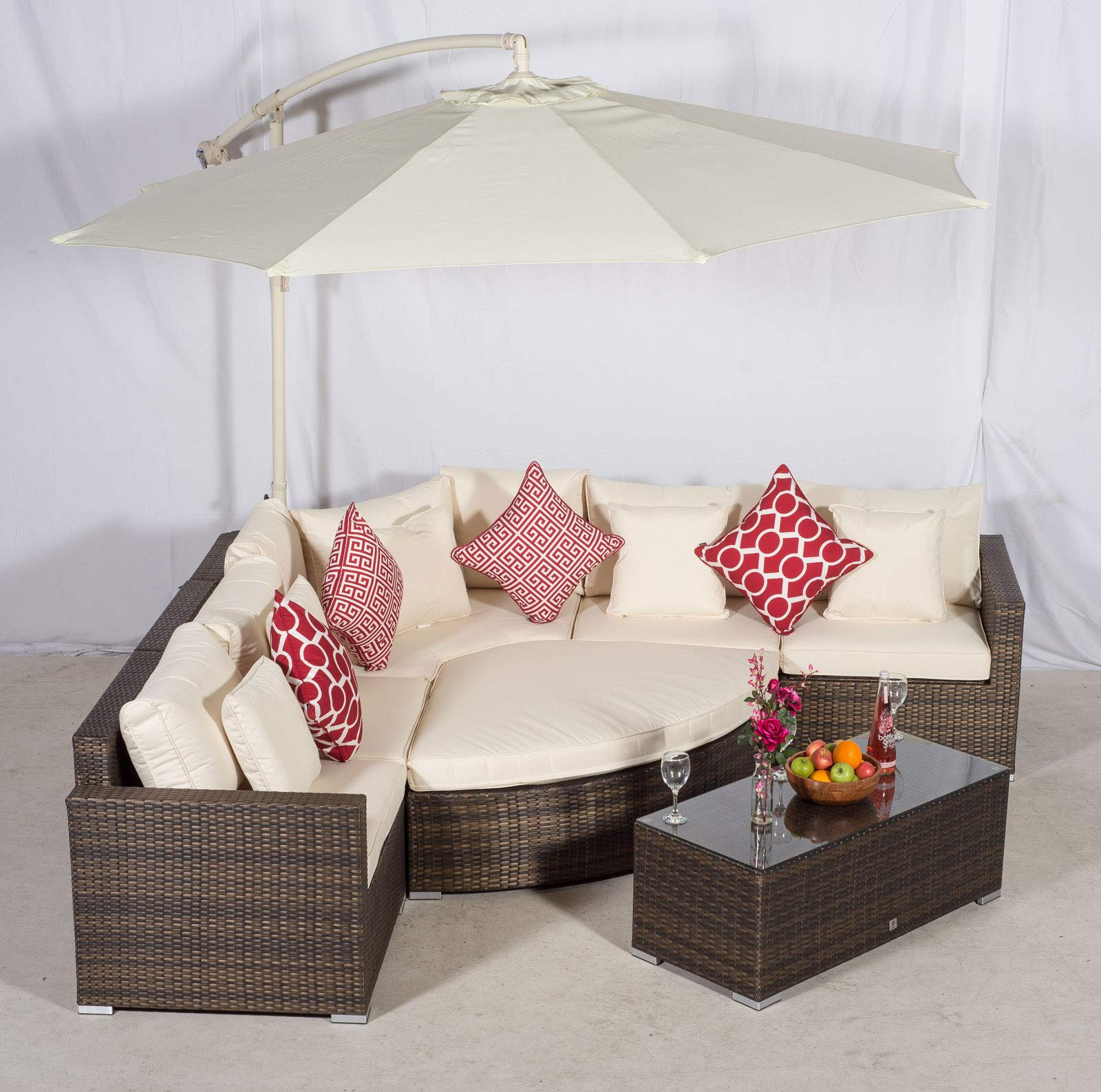 Fantastic Giardino Santorini 5 Seat Brown Rattan Corner Sofa Set Pabps2019 Chair Design Images Pabps2019Com