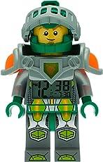 LEGO Nexo Knights 9009426 Aaron Kinder-Wecker mit Minifigur und Hintergrundbeleuchtung| grün/grau| Kunststoff| 24 cm hoch| LCD-Display| Junge/Mädchen| offiziell