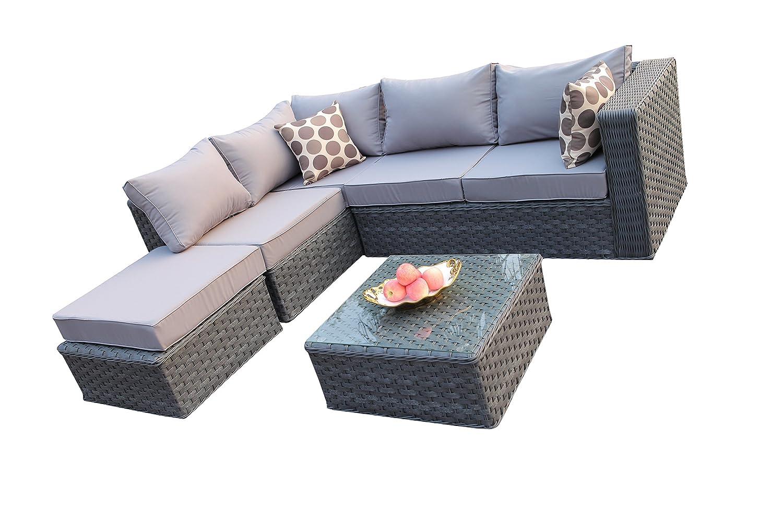 yakoe conservatory modular 5 seater rattan garden corner sofa furniture set grey amazoncouk garden outdoors