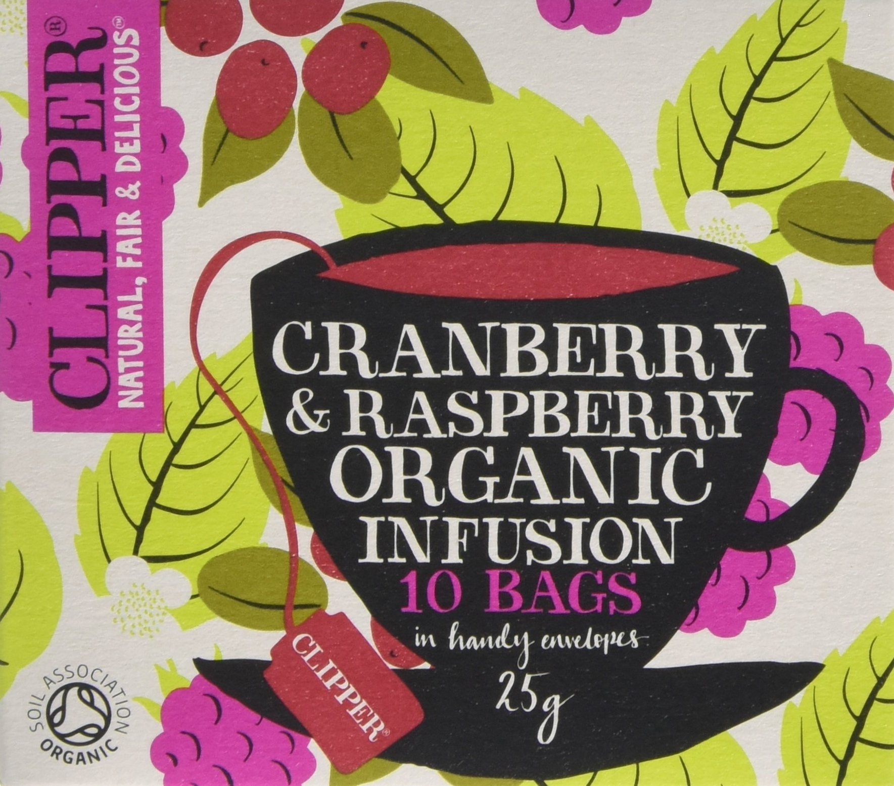 Clipper organic cranberry and raspberry tea bundle (soil association) (infusions) (6 packs of 10 bags) (60 bags) (a fruity tea with aromas of cranberry, raspberry) (brews in 3-5 minutes)