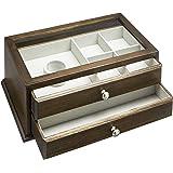 Amazon Basics - Contenitore per gioielli e orologi, in legno, con coperchio in vetro e due cassetti, noce