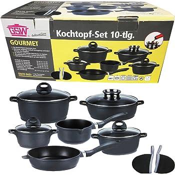 Induktion Kochtopf Set 10-tlg Topf Set Gourmet Pfanne