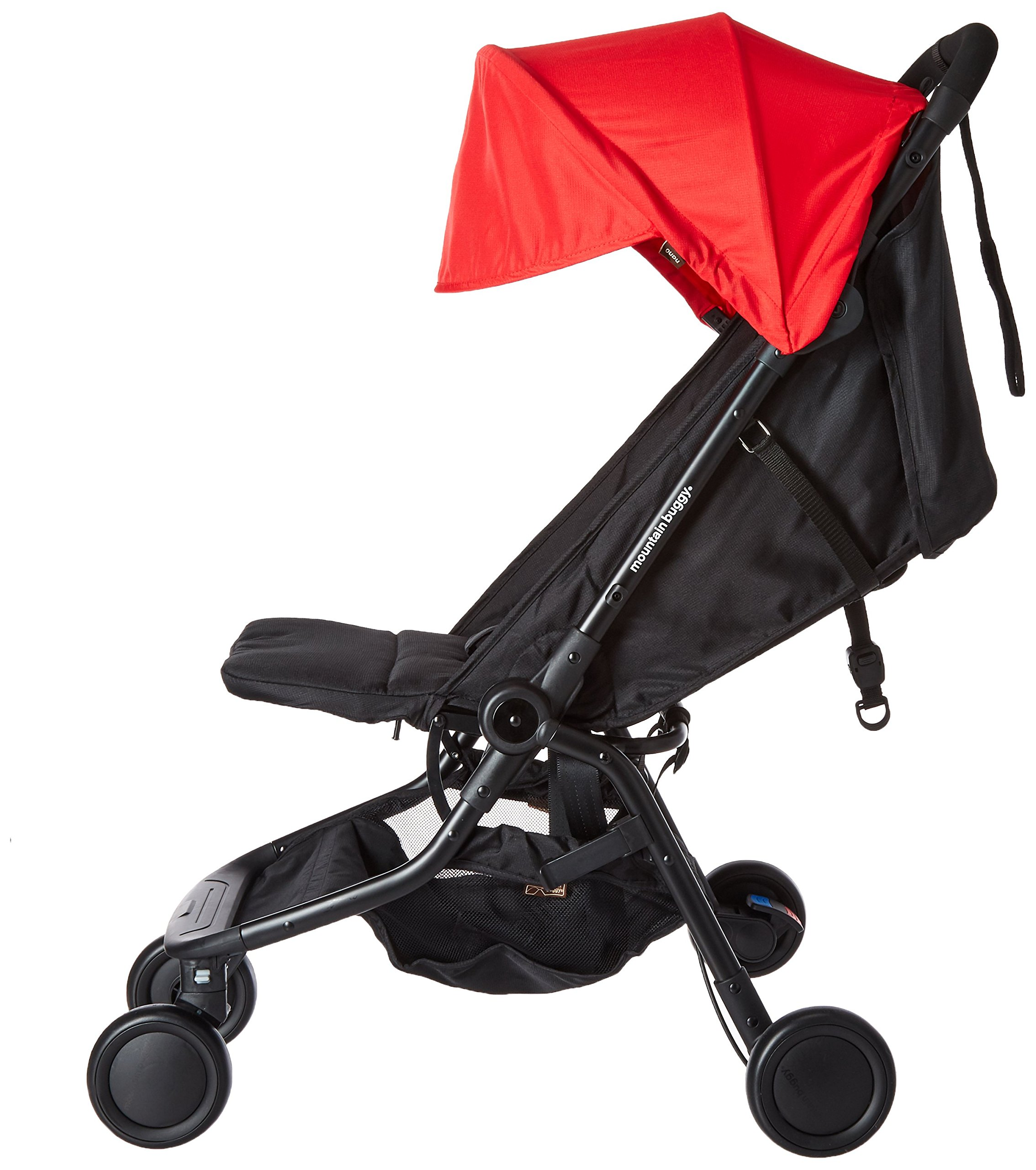"""Mountain Buggy Nano V2-5, Ruby Red Mountain Buggy Infant car seat ready, no need to purchase additional adapters and now has a soft shell cocoon carrycot available (sold separately) for new-borns New, narrower compact size at just 12"""" x 22"""" x 20"""" (folded) with 44 lb. weight capacity and suitable for children up to 4 years Easy two-step, compact fold 4"""