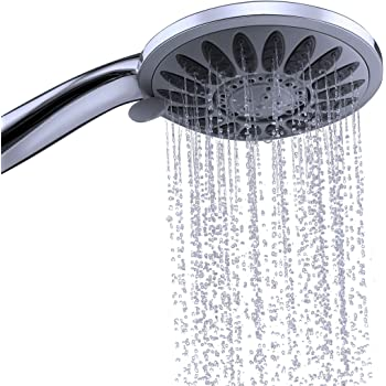Shower Head with Removable Hand Held Handset – Luxury Multi Spray Chrome Handheld Replacement Shower Heads. Best High Pressure Adjustable Rain Massage and Rainfall Settings for Bathroom