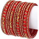 Somil Designer Glass Bangles/Kungan/Kada Set, Festival, Workplace, Party, Traditional, Designer, Ornamented with Stone, Red