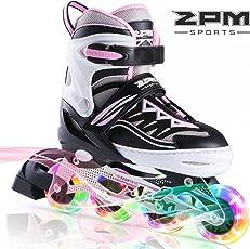 2pm Sports Cytia Größe verstellbar Inline Skates für Kinder, Herren und Damen, LED-Räder Leuchten Nachts auf