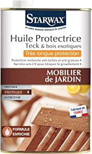 STARWAX Huile très longue protection pour mobilier de jardin en teck et  bois exotique - 750 ml