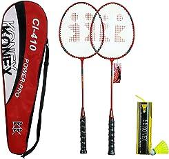 Konex CI-410 Badminton Racquet Pair with Six High Quality Plastic Shuttlecocks