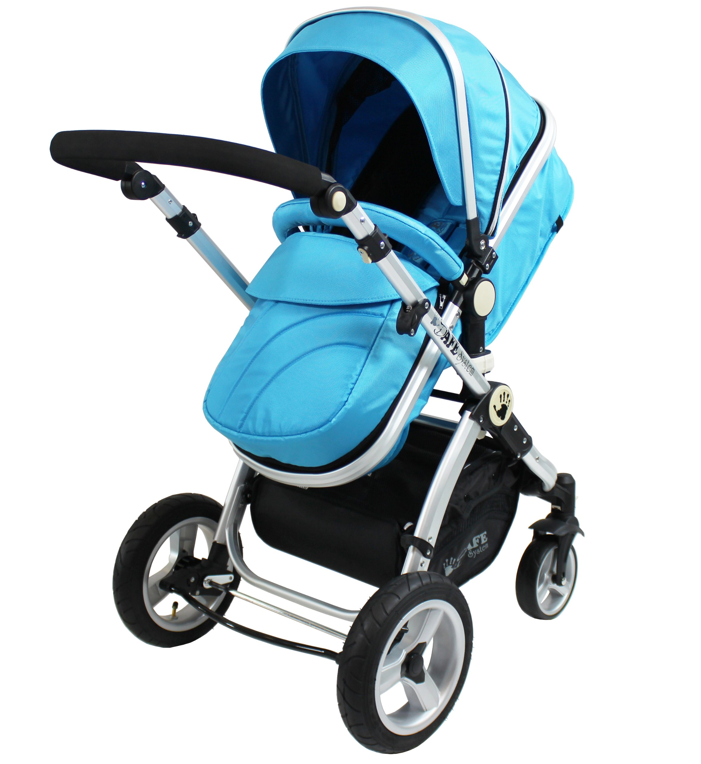 i-Safe System - Ocean Trio Travel System Pram & Luxury Stroller 3 in 1 Complete With Car Seat iSafe  4