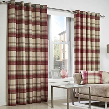 Red Curtains amazon red curtains : RED Grey TARTAN Check Curtains Highland Natural Beige EYELET Ring ...