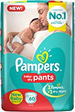 Pampers New Born Diaper Pants, X-Small (60 Pieces)