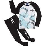 PlayStation Pijama Niño, Pijamas Niños con Pantalon Negro y Camiseta de Manga Larga, Ropa Niño de Dormir 100% Algodon, Regalo