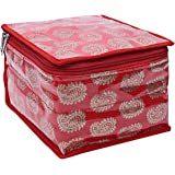 Kuber Industries Brocade Jewellery Box/Organizer with 10 Pouch - Red -CTKTC021464