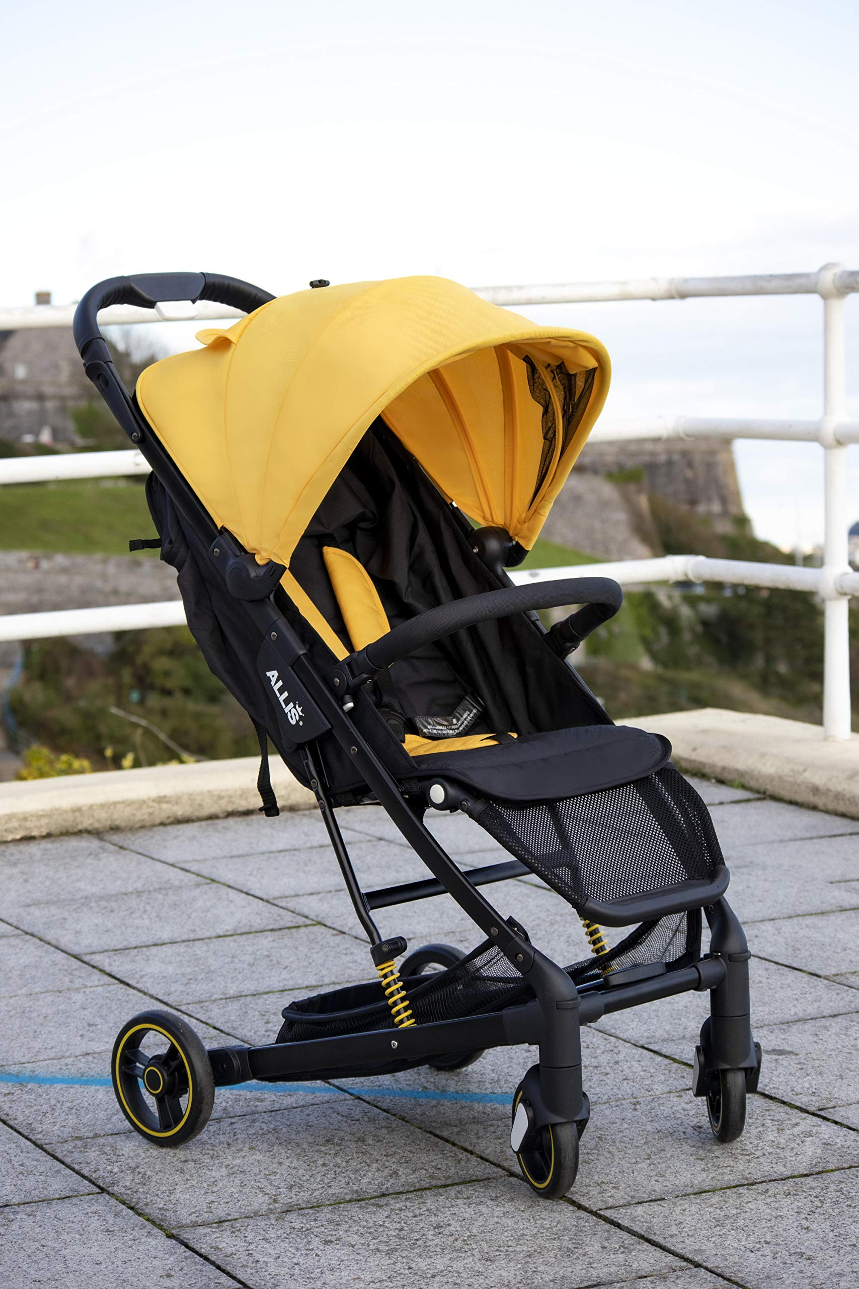 Allis Travel Stroller Baby Buggy Pram Lightweight Pushchair - Yellow Allis Baby Made according to British Standard EN1888, Fire Safety Regulations 1988. Lockable 360 swivel wheels, removable and suspension. Ultralight Design:Aluminium frame. Suitable from 6M - 4Ys ( upto 15Kg Approx) 2
