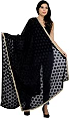 Exotic India Phulkari Dupatta from Punjab with Embroidered Bootis in Self-Color Thread