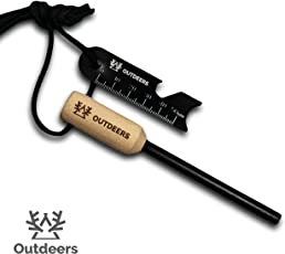 Outdeers Feuerstahl mit 7 in 1 Schaber und Zunder | Firesteel mit 12000 Zündungen Feuerstarter Camping