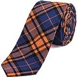 DonDon cravatta stretta a righe e a quadri da uomo 6 cm cotone Tweed