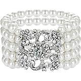 Coucoland - Braccialetto con perle di Gatsby anni '20, 5 file di perle elastiche imitazione braccialetto ruggenti accessori a