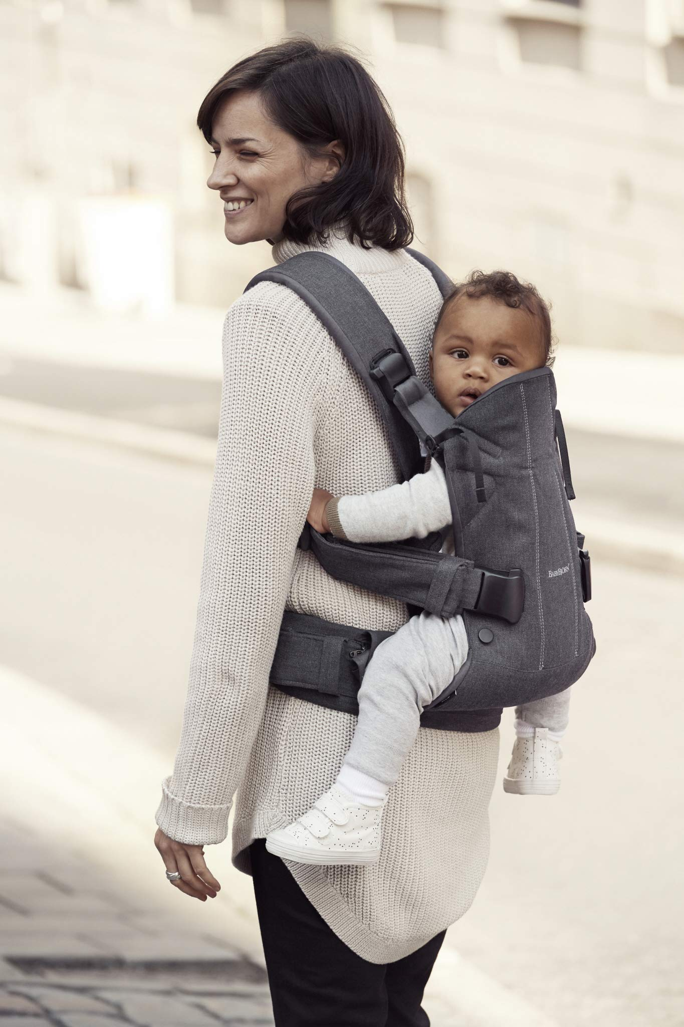 BABYBJÖRN Baby Carrier One, Cotton Mix, Denim Grey/Dark Grey, 2018 Edition Baby Bjorn The latest version with ergonomic seat width and adjustable head support Soft and durable cotton fabric that is machine washable 4 carrying positions: new-born, baby facing-in, baby facing-out and back carrying 4