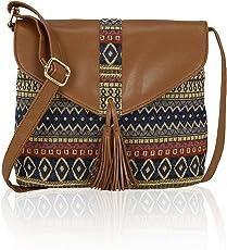 Kleio Jacquard Stylish Canvas Sling Bag For Women / Girls (Multi Color) (Ezl3003Kl-M1)