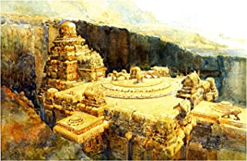 Kailash Temple (Watercolor Painting by Yogesh Somwanshi)