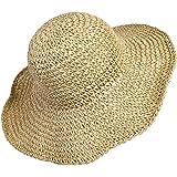 MaoXinTek Cappello Parasole di Paglia da Donna Elegante, Cappello Tesa Larga da Sole Estate, Flessibile e Pieghevole per l'Es