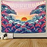 HZAMING Tapiz con diseño de Olas del océano, Tapiz 3D de Gran Onda, Tapiz japonés para habitación, Ocean Wave, 51.2