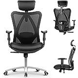 mfavour Bureaustoel Ergonomische bureaustoel met verstelbare armen en rugsteun, ademend mesh-ontwerp en gewatteerd zitkussen,
