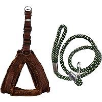 Skora Nylon Padded Adjustable Dog Harness and Leash 1.25-inch for Large Pet (Standard, Brown)