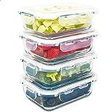 LG Luxury & Grace Pack 4 Recipientes de Cristal 600 ml. Cierre Hermético. Envases Contenedores Aptos para Microondas, Horno,