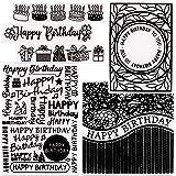 6pcs Classeur de Gaufrage Plastique Happy Birthday Pochoir Dossier de Gaufrage de Carte de Papier pour Fabrication de Cartes