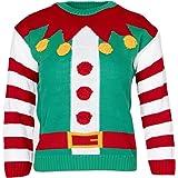 NOROZE Niños Niñas Navidad Pullover Unisexo Novedad Pan de Jengibre Elf Duende Papa Noel Suéter