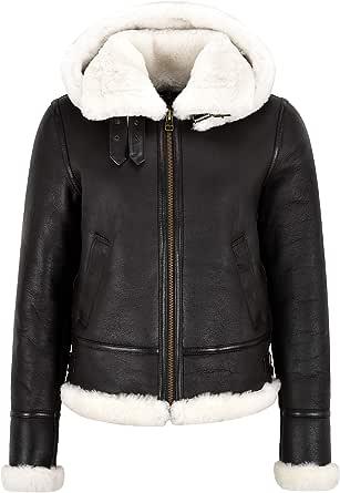 Smart Range Leather Giacca da Donna in Pelle di Montone B3 con Cappuccio Winters Giacca in Vera Pelliccia di Shearling Bianca F-05