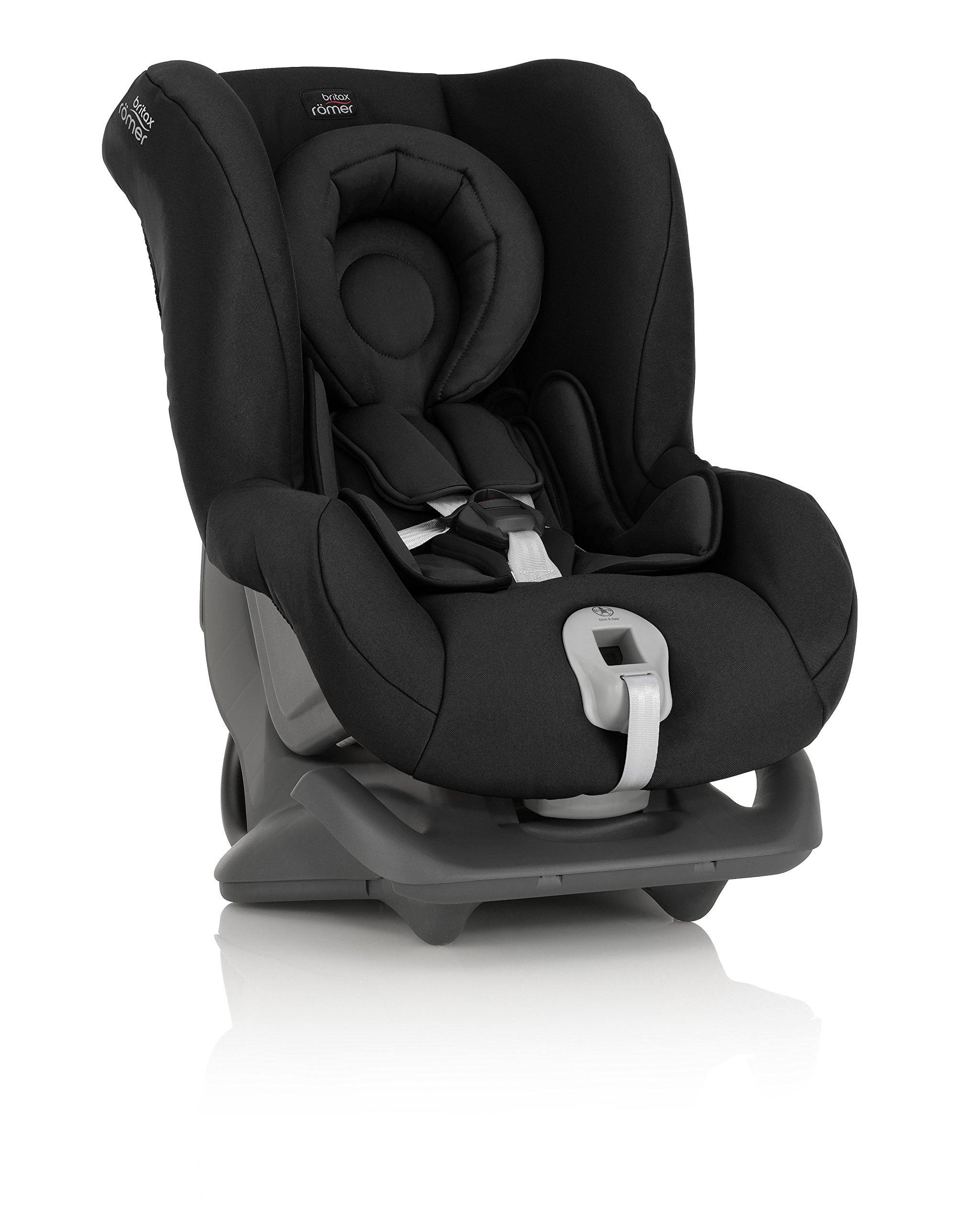 Britax Römer FIRST CLASS PLUS Group 0+/1 (Birth-18kg) Car Seat - Cosmos Black  Extended recline position when rearward facing - the safest way to travel Reassurance built-in - CLICK & SAFE harness tensioning confirmation Superior protection - side impact protection Plus performance chest pads and pitch control system 5