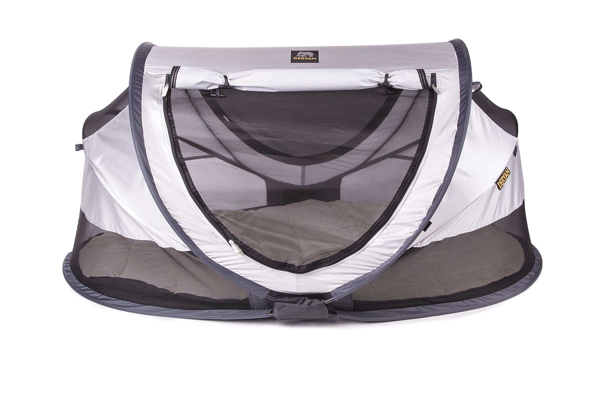 Travel Cot Peuter Luxe (Silver) Deryan 50% UV Protection and flame retardant fabric Setup in 2 seconds and a anti-musquito net  1