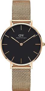 Daniel Wellington Petite Melrose, orologio da donna in oro rosa 28 mm, maglia da donna