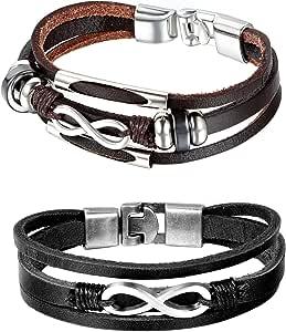 2 braccialetti multistrato, unisex, fantasia, per coppia, in lega metallica e pelle, simbolo dell'infinito, con sacchetto regalo, colore: nero e marrone