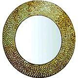 GIG Handicrafts Wood Wall Hanging Mirror (64 x 60 x 4 cm, Multicolour)