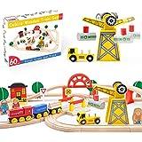 Juego de trenes de juguete de 60 piezas - Grúa y vías de madera y trenes exclusivos - Se adapta a Thomas, Brio, Chuggington,